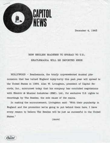 50 Years Ago: CAPITOL RECORDS SIGNS DEAL FOR BEATLES