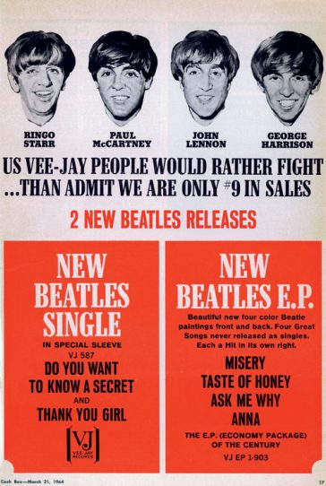50 Years Ago: VEE-JAY ISSUES BEATLES SINGLE & EP WHILE BEATLES CONTINUE WORK ON THEIR MOVIE