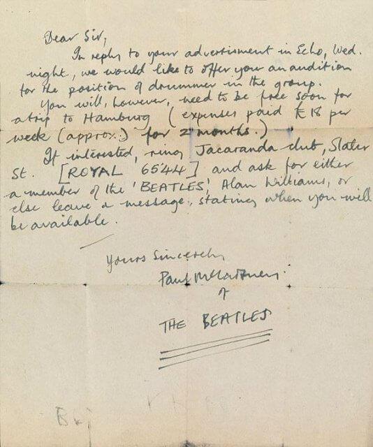 Early Paul McCartney Letter Offers Drummer Tryout