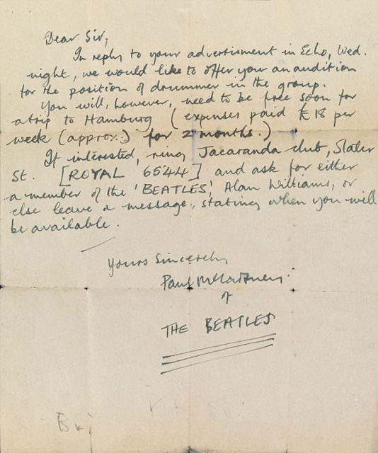 Early Paul McCartney Letter Offers Drummer Tryout